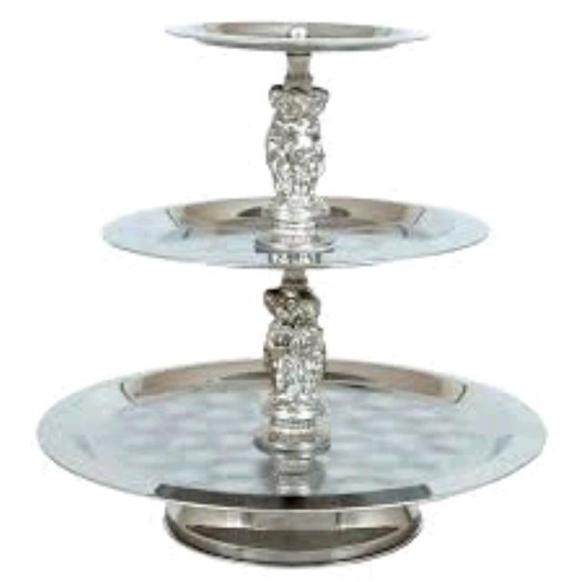 Where to find 3 Tiered Tray W Silver Accents in Dallas